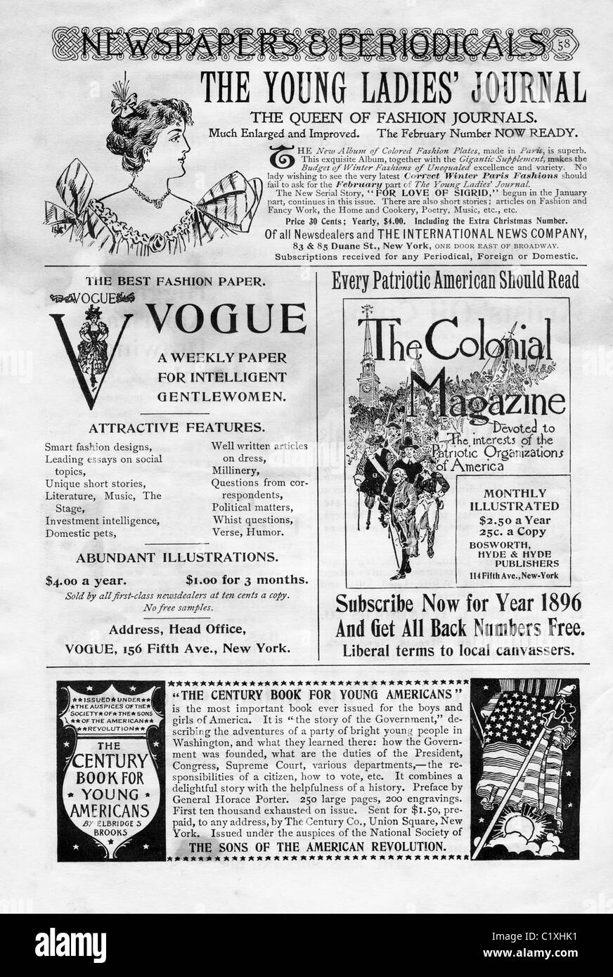 This page from Century Magazine's February 1896's issue includes advertisement s for several magazines. - Stock Image