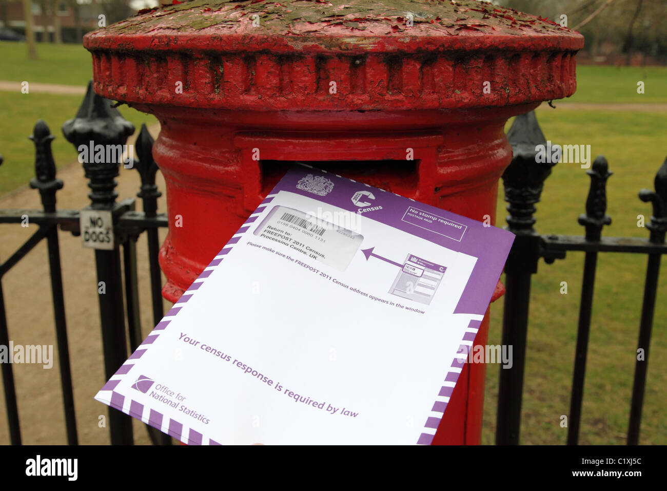 A completed 2011 UK Census form being posted. Stock Photo