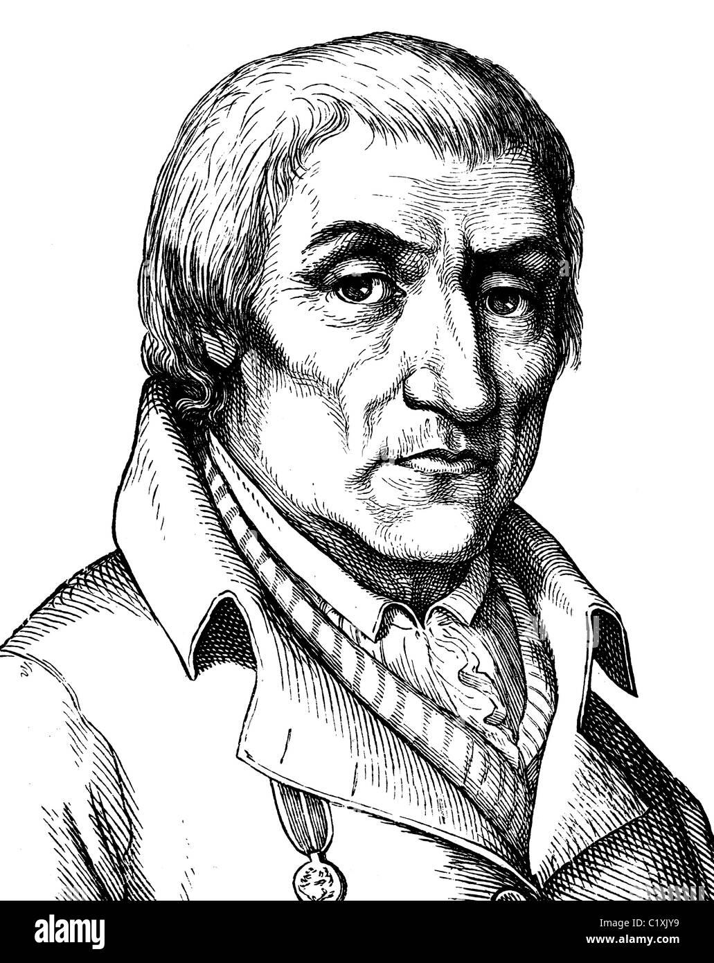 Digital improved image of Christian Joachim Nettelbeck, German folk hero, 1738 - 1824, portrait, historic illustration, Stock Photo