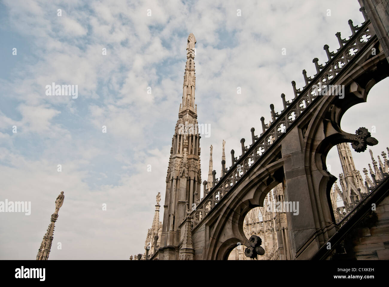 sculpture, statue, Cathedral, Milan, Duomo, roof - Stock Image