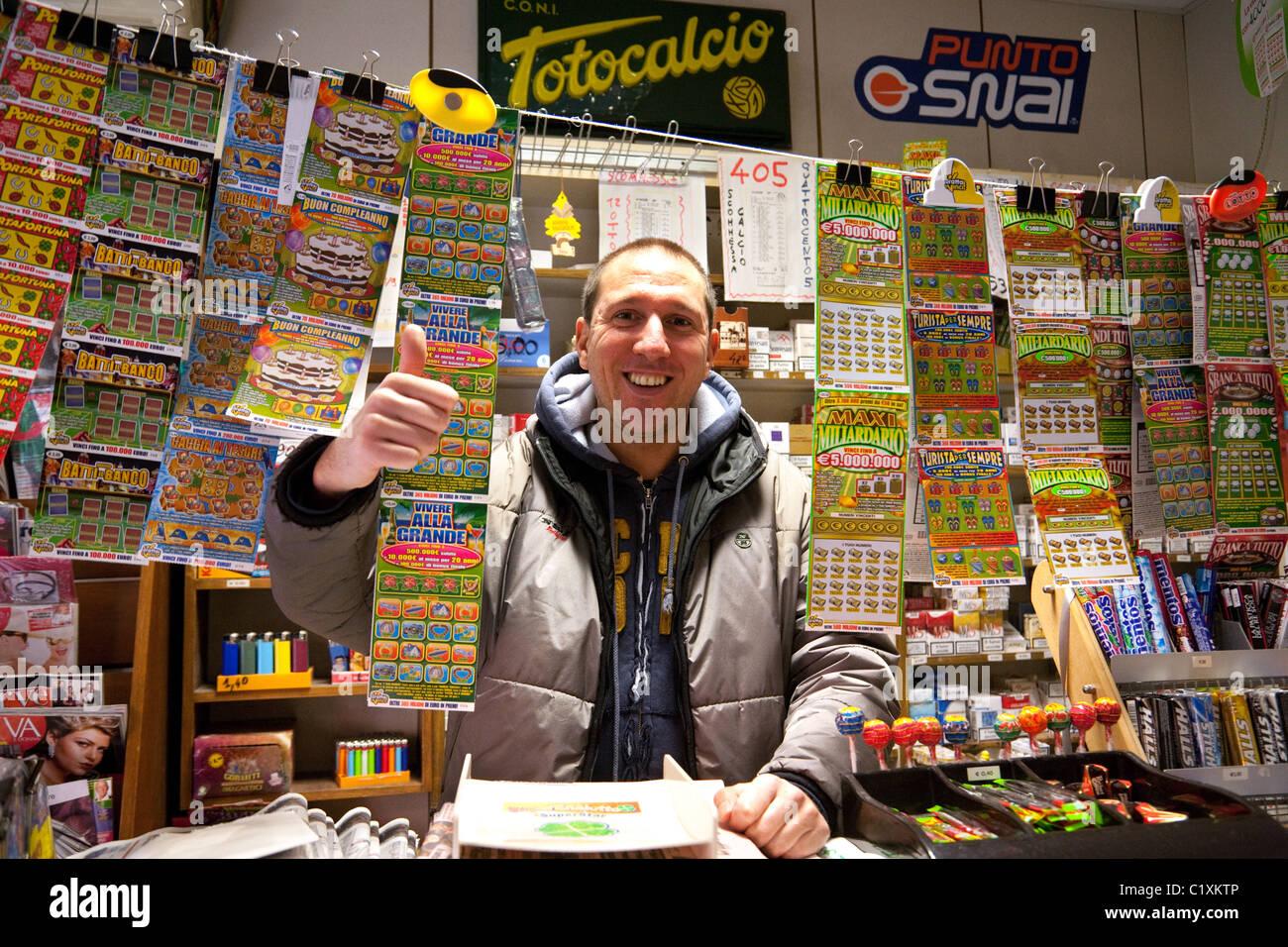 Lottery ticket seller, Venice, Italy - Stock Image