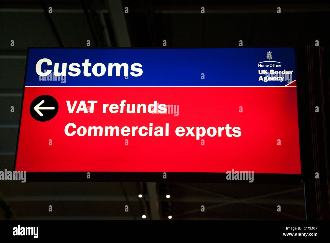Customs sign, Terminal 5, Heathrow airport, London UK - Stock Image