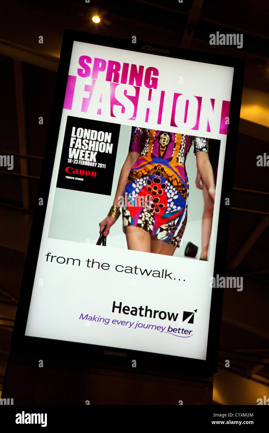 London Fashion week sign at terminal 5, Heathrow airport, London, UK Stock Photo