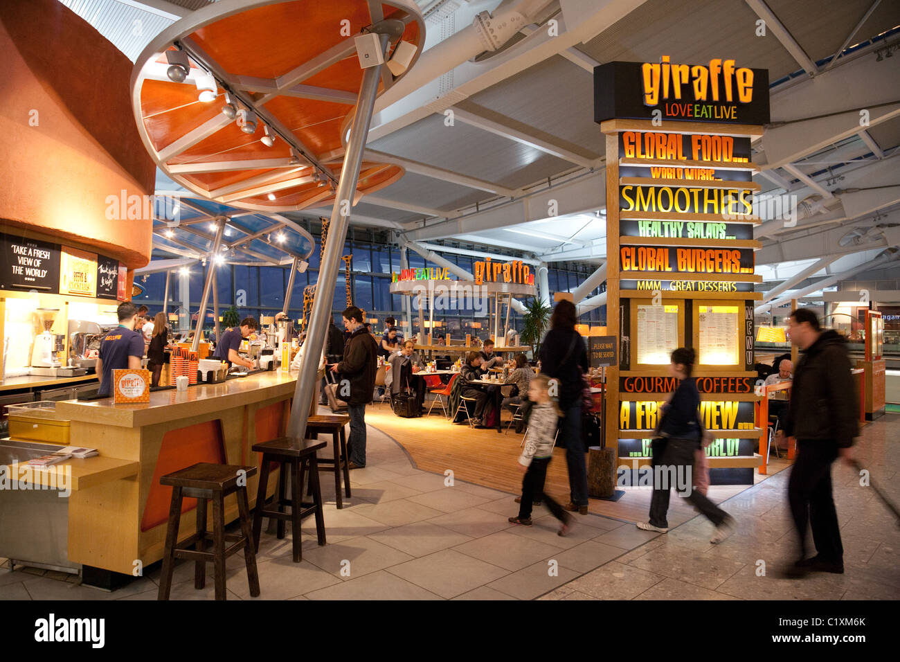 The giraffe restaurant cafe in terminal heathrow