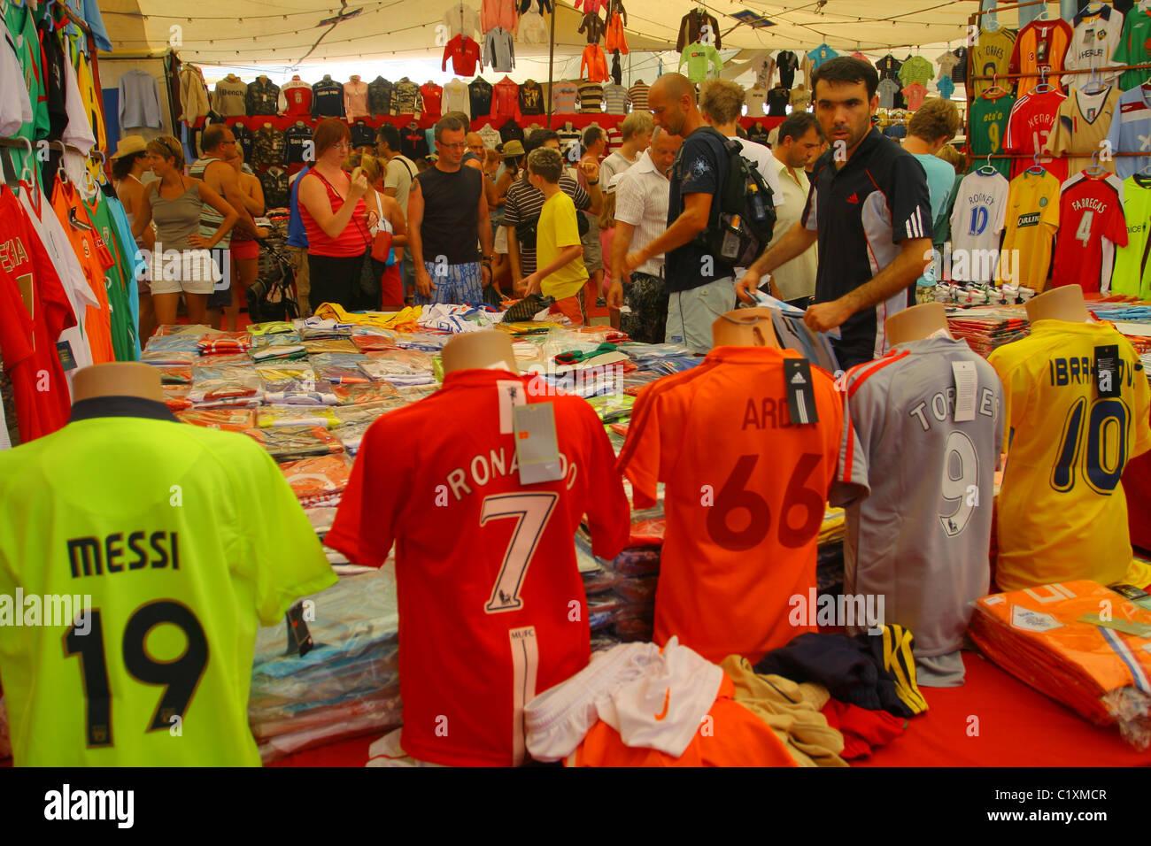 dd8b11911 Fake replica football kit for sale at tourist market in Fethiye. Mugla