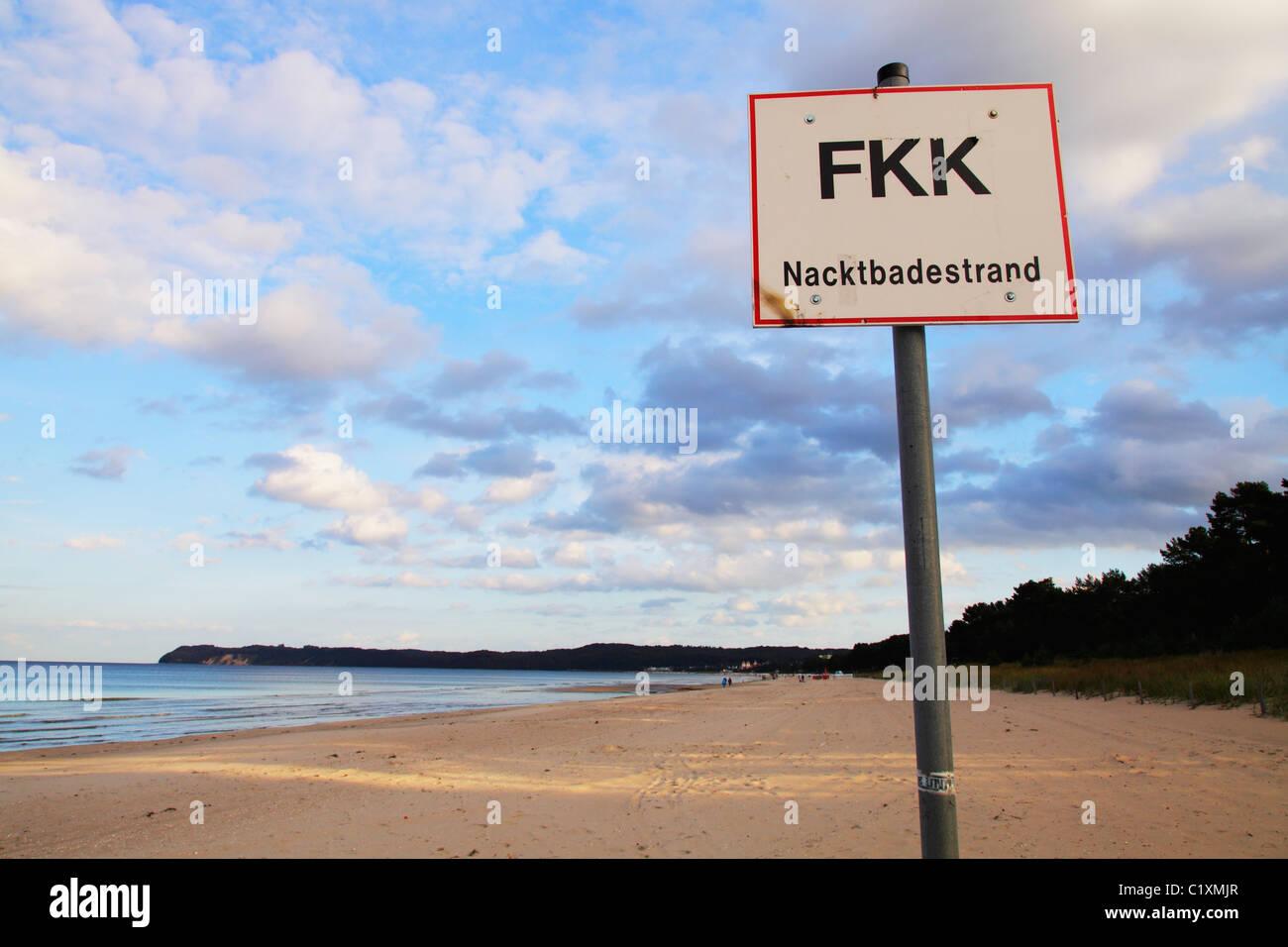 Germany, Sign FKK At Beach Stock Photo - Image: 58258315