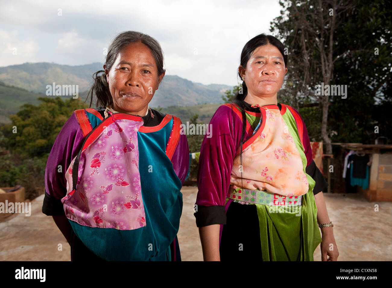 Lisu hill tribes woman mother-in-law mother, Ban Hai Ko, Mae Salong, Chiang Rai, Thailand - Stock Image