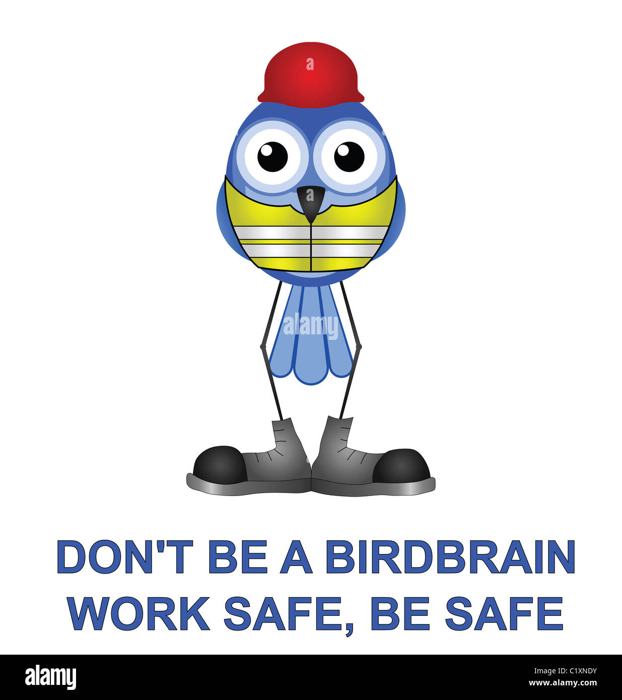 Bird with construction health and safety message - Stock Image