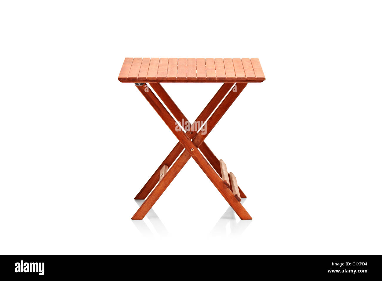 Wooden folding table - Stock Image