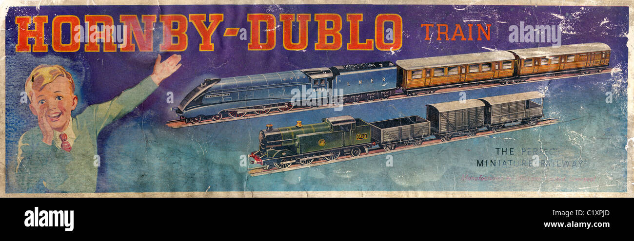 Label from box of pre-war Hornby Dublo toy train set JMH4889 - Stock Image