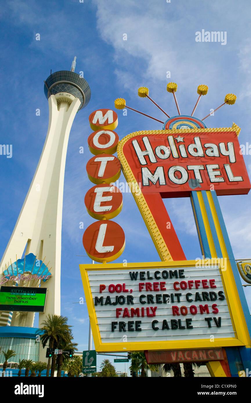 Stratosphere and motel on Las Vegas strip - Stock Image