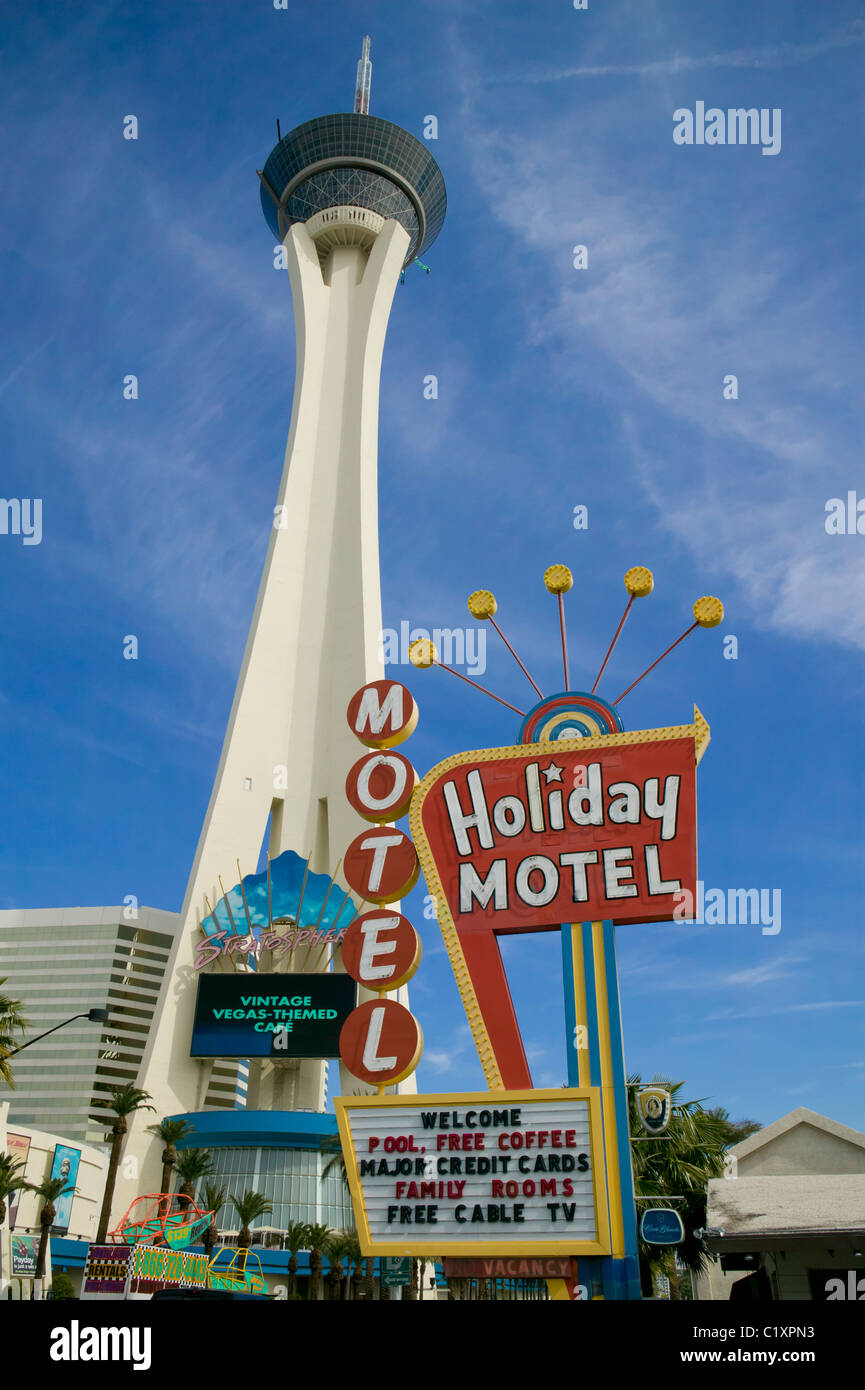 Stratosphere and motel on Las Vegas strip - Stock Image