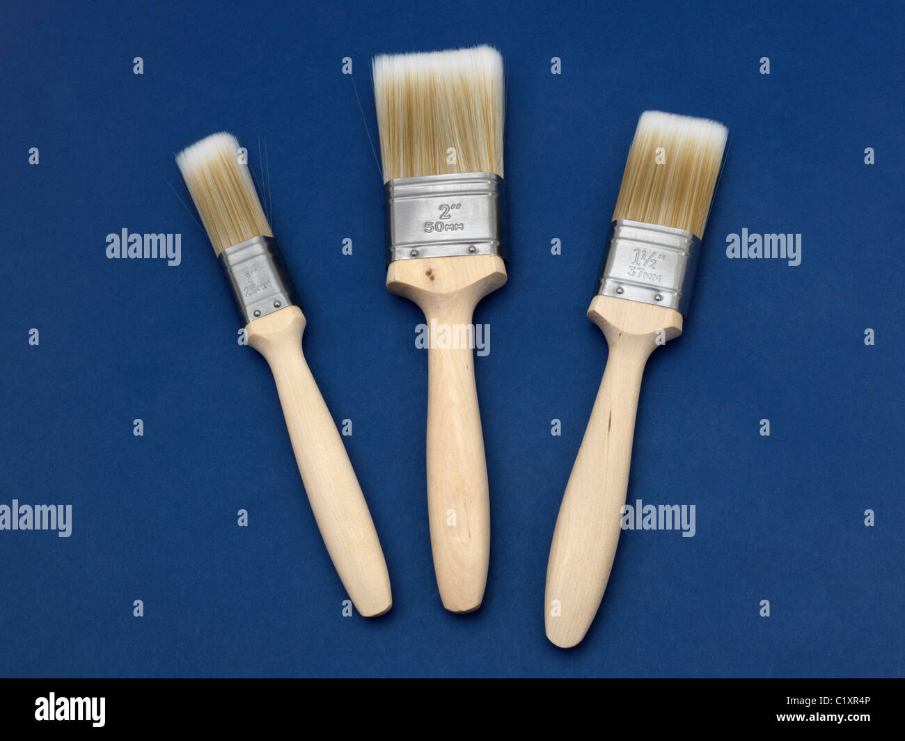 Three Different Sized Flat Brushes - Stock Image