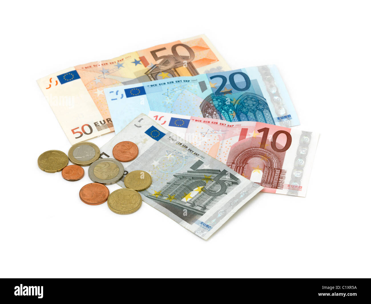 Euros Banknotes And Coins 5,10,20,50 - Stock Image