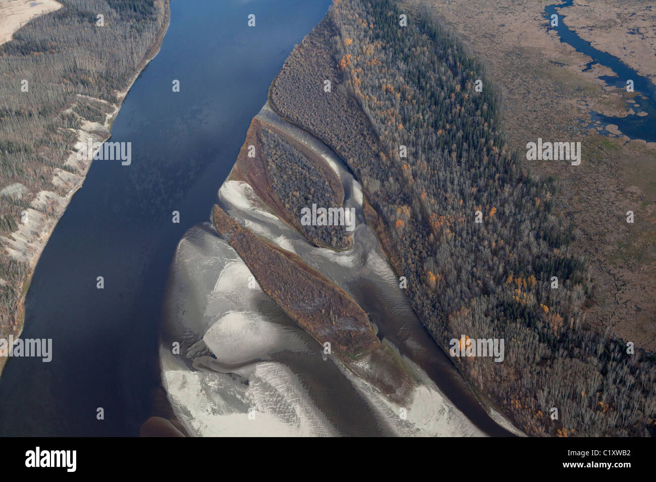 Aerial View of the boreal forests running through Tar Sands, Fort McMurray, Alberta, Canada - Stock Image
