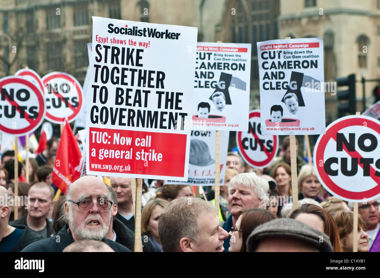 Thousands of people march against government spending cuts, TUC March for the Alternative, London, UK, 26/03/2011 - Stock Image
