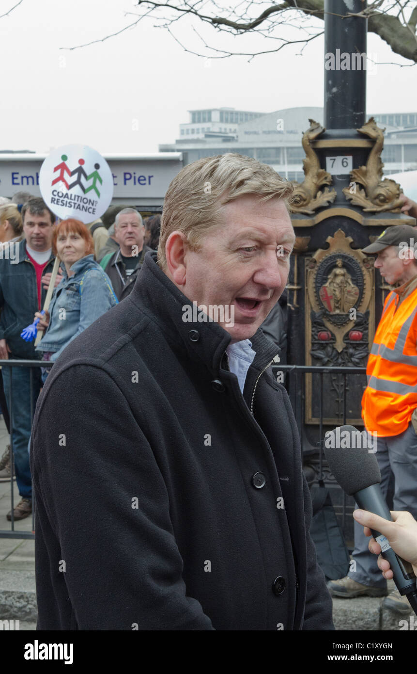 Len McCluskey General Secretary of Unite TUC 'March For the Alternative' against Coalition Government Cuts - Stock Image