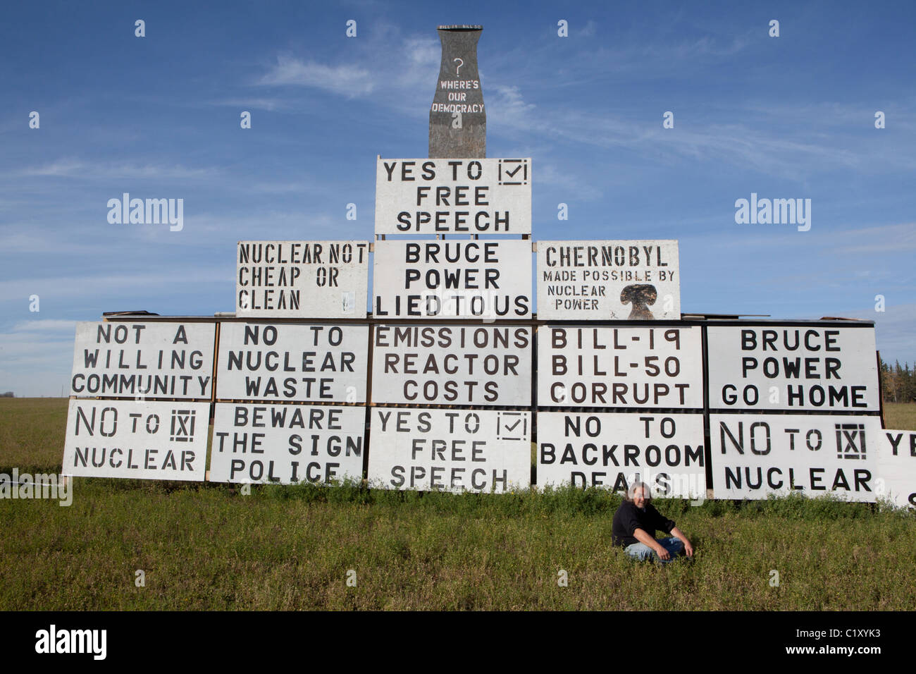 Anti nuclear protest towards the building of a nuclear power plant, Peace River, Alberta - Stock Image