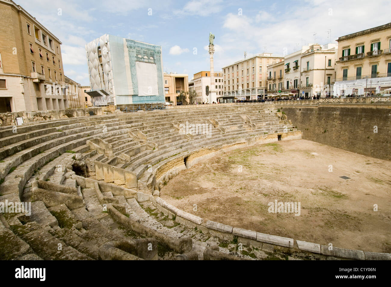 lecce amphitheatre southern italy city cites Piazza Sant Oronzo roman romans remains italian history historic sightseeing - Stock Image
