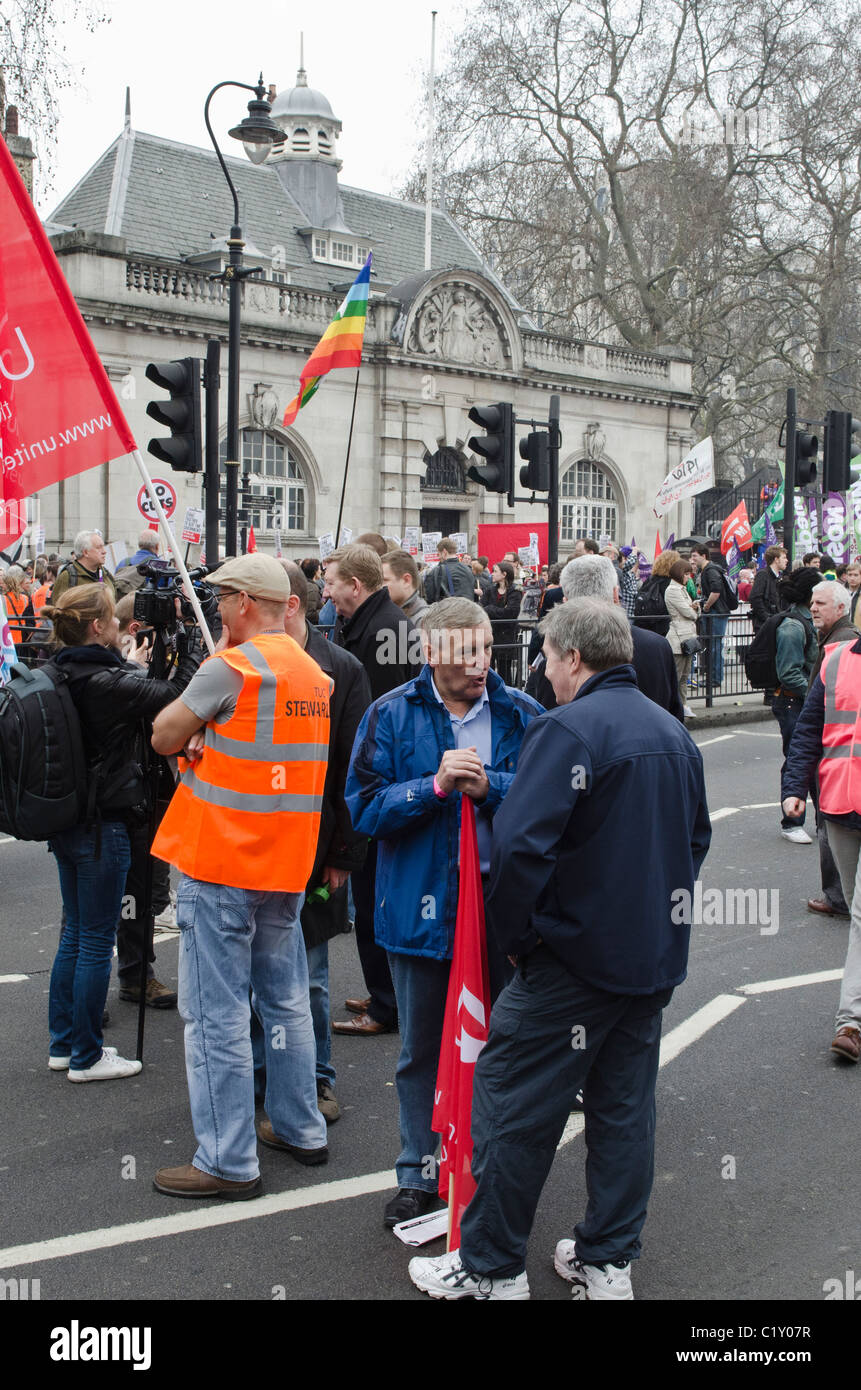 Tony Woodley joint General Secretary of Unite TUC 'March For the Alternative' against Coalition Government - Stock Image