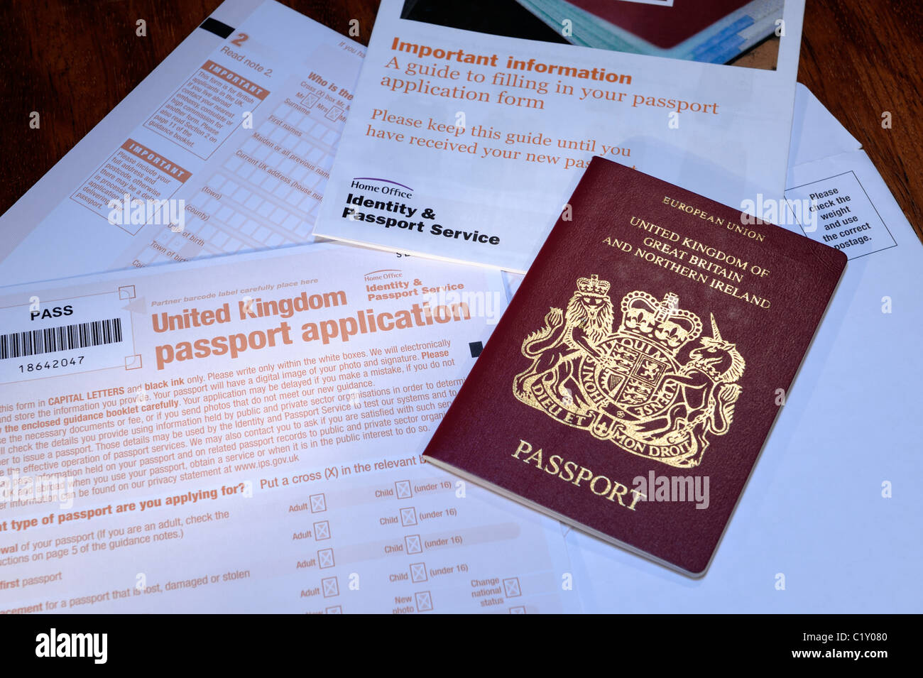 UK Passport Application Form - Stock Image