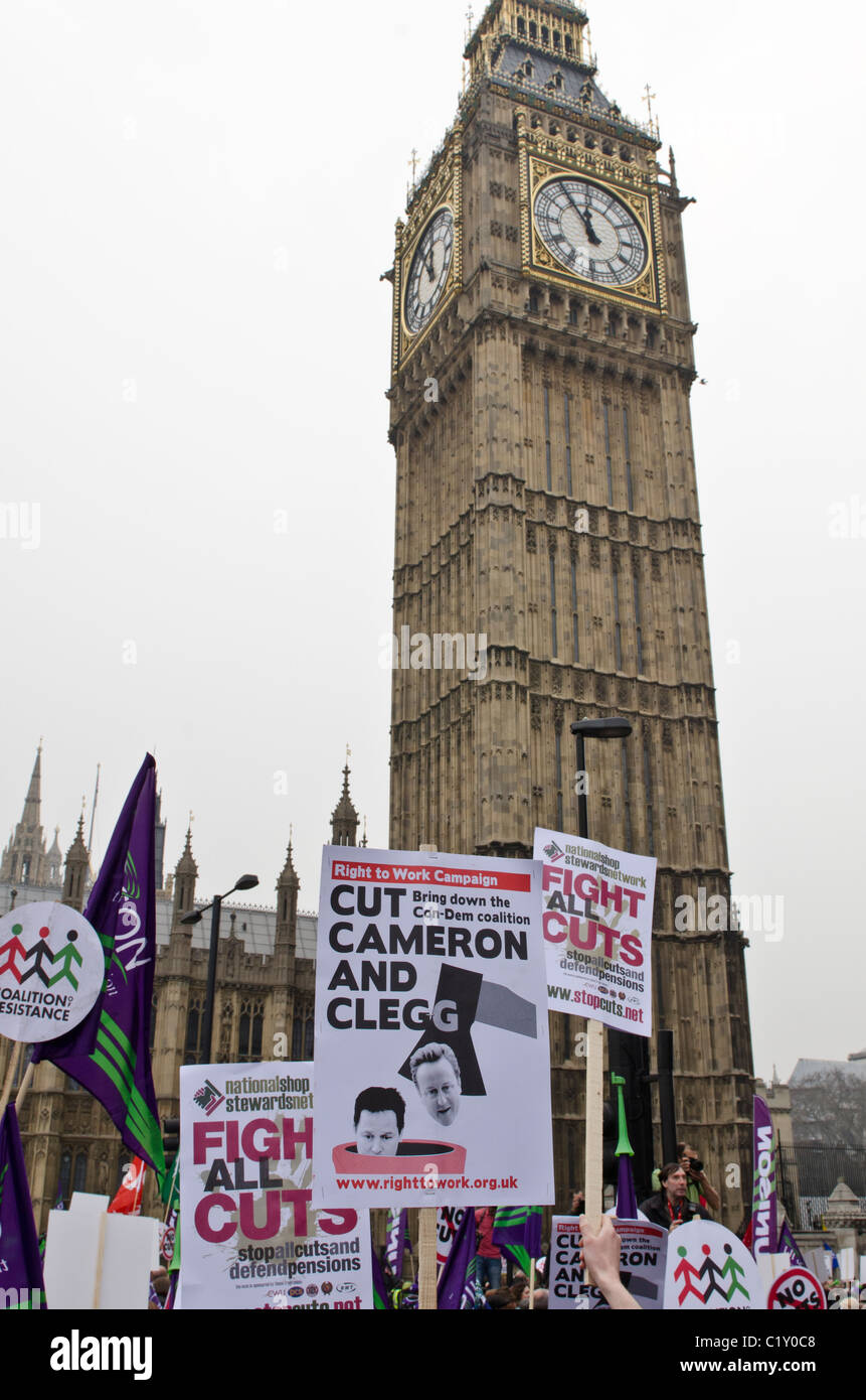 Protest Banners  outside Big Ben and Parliament TUC 'March For the Alternative' against Coalition Government - Stock Image