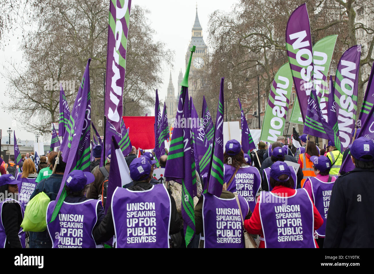 Unison Public Services union approach Parliament TUC 'March For the Alternative' against Coalition Government - Stock Image