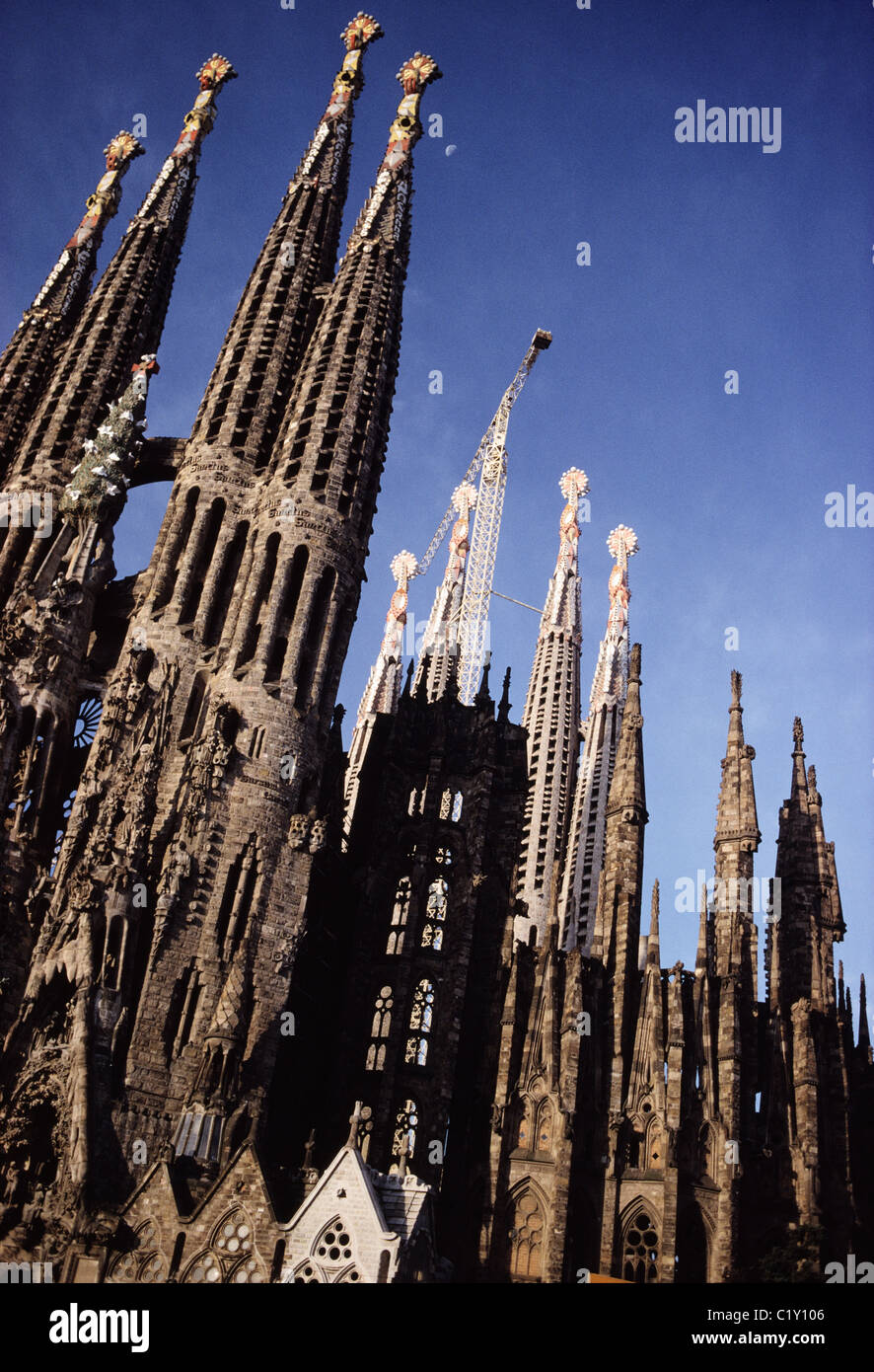 Towers of Familia Sagrada Cathedral in Barcelona - Stock Image