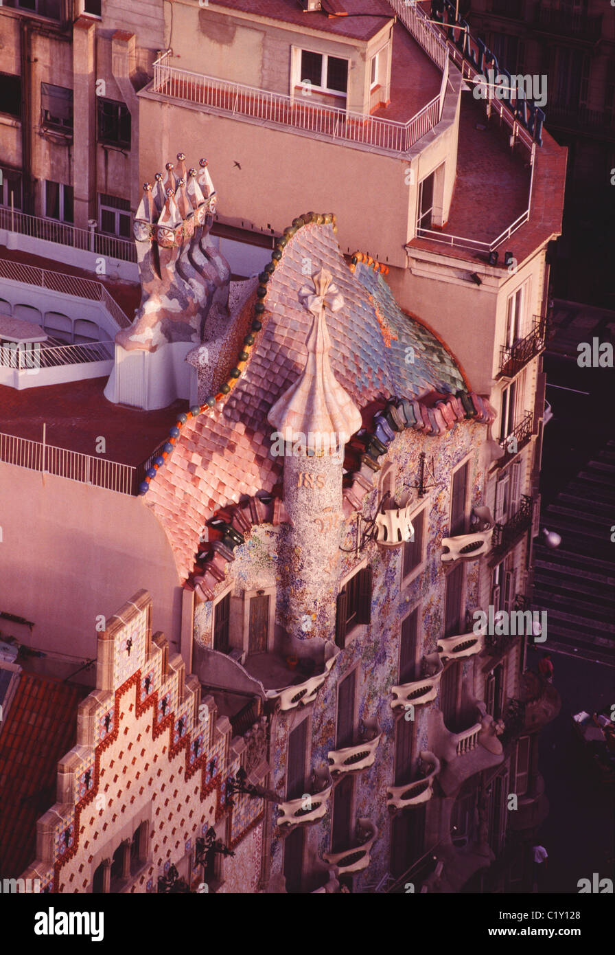 Aerial view over Casa Batlló in Barcelona - Stock Image
