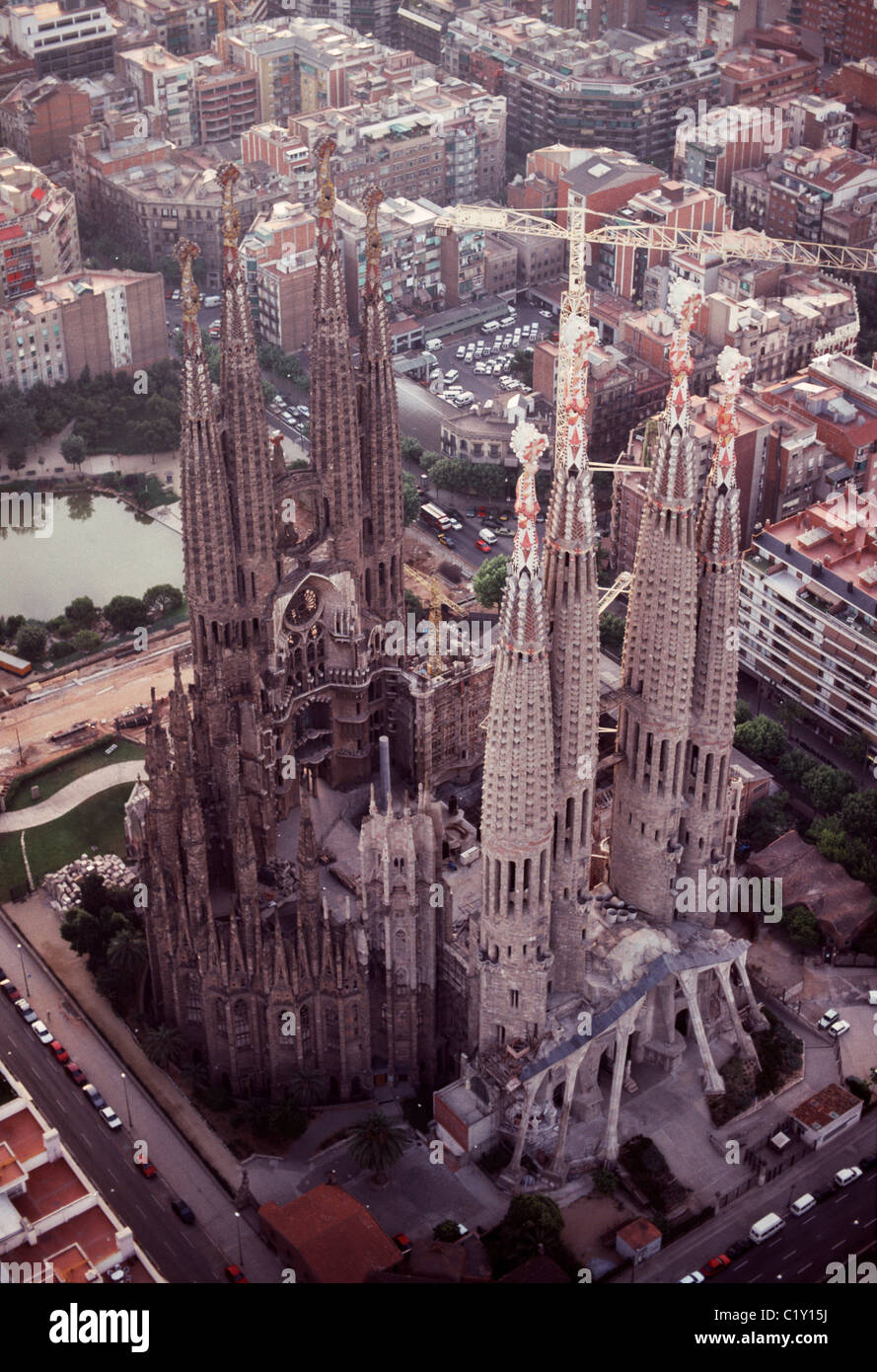 Aerial view over Sagrada Familia Cathedral in Barcelona - Stock Image