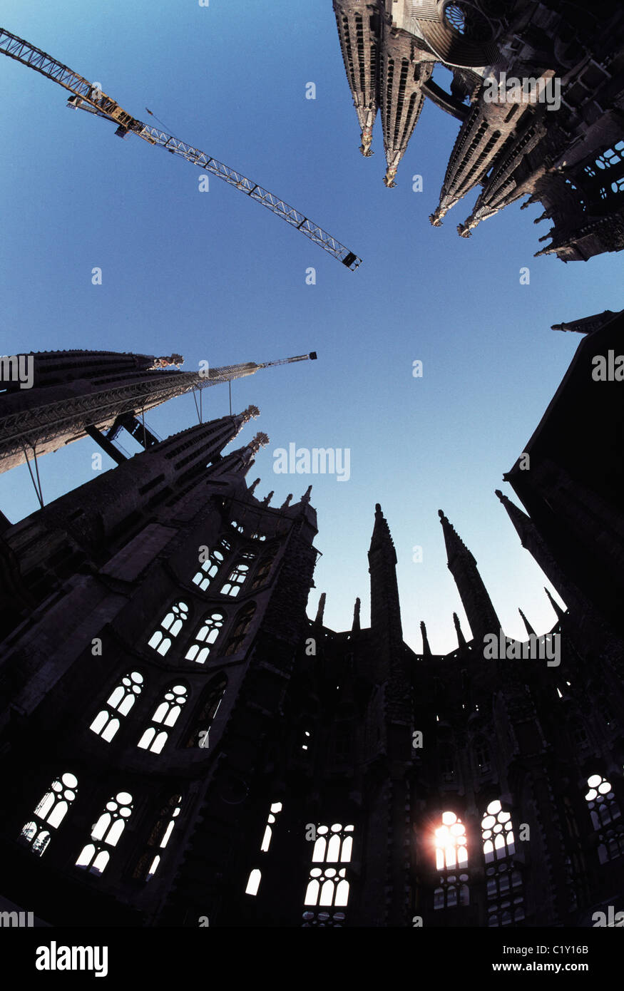 Interior of partially built Sagrada Familia Cathedral in Barcelona - Stock Image