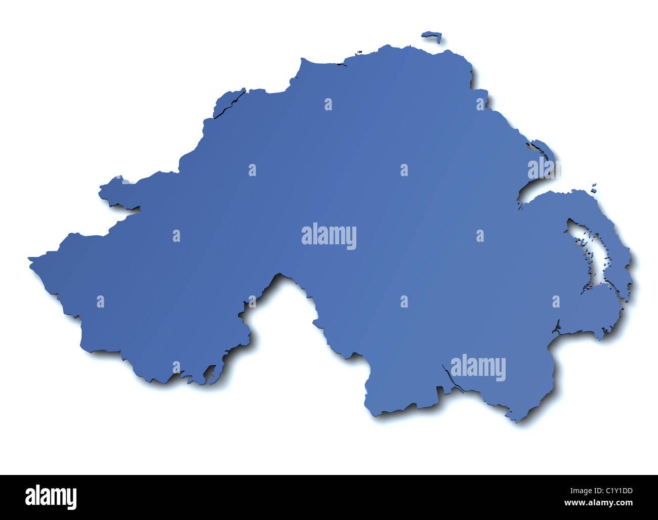Map of Northern Ireland - UK - Stock Image