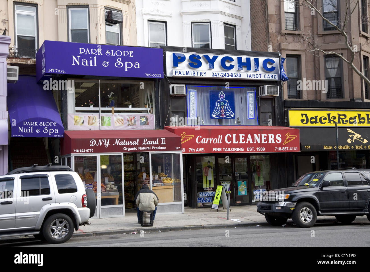 In uncertain times psychics and fortune-tellers tend to do a good business. 7th Avenue, Park Slope, Brooklyn, NY. - Stock Image