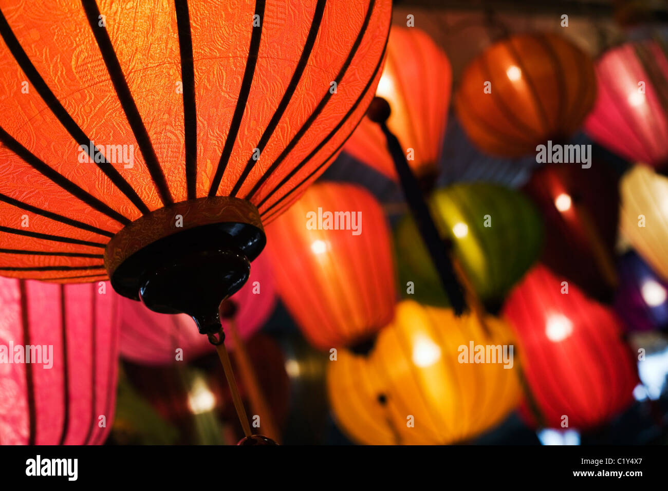Colourful lanterns at the Chatuchak Weekend Market. Bangkok, Thailand - Stock Image