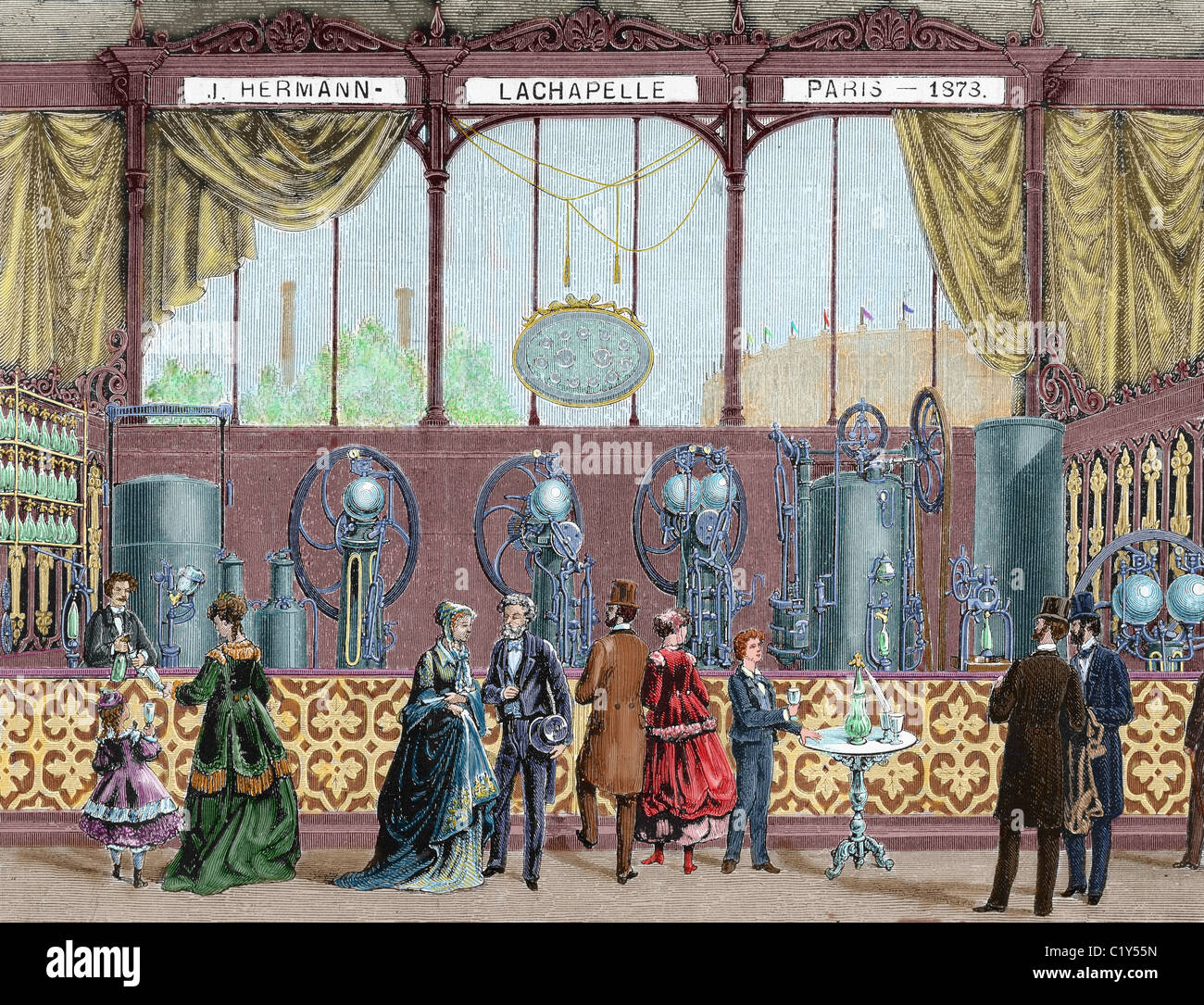 Paris Universal Exhibition (1878). Installation by J. Hermann Lachapelle, Continuous equipment maker for the production Stock Photo