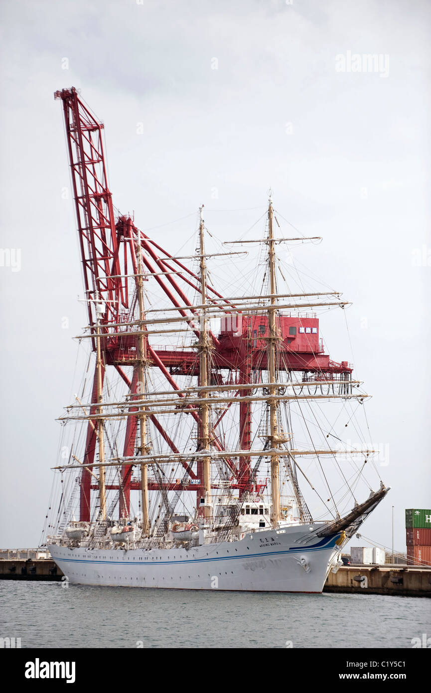 The Kaiwomaru, which is hosting some of the members of the so called Fukushima 50, stands in the dock at Onahama - Stock Image
