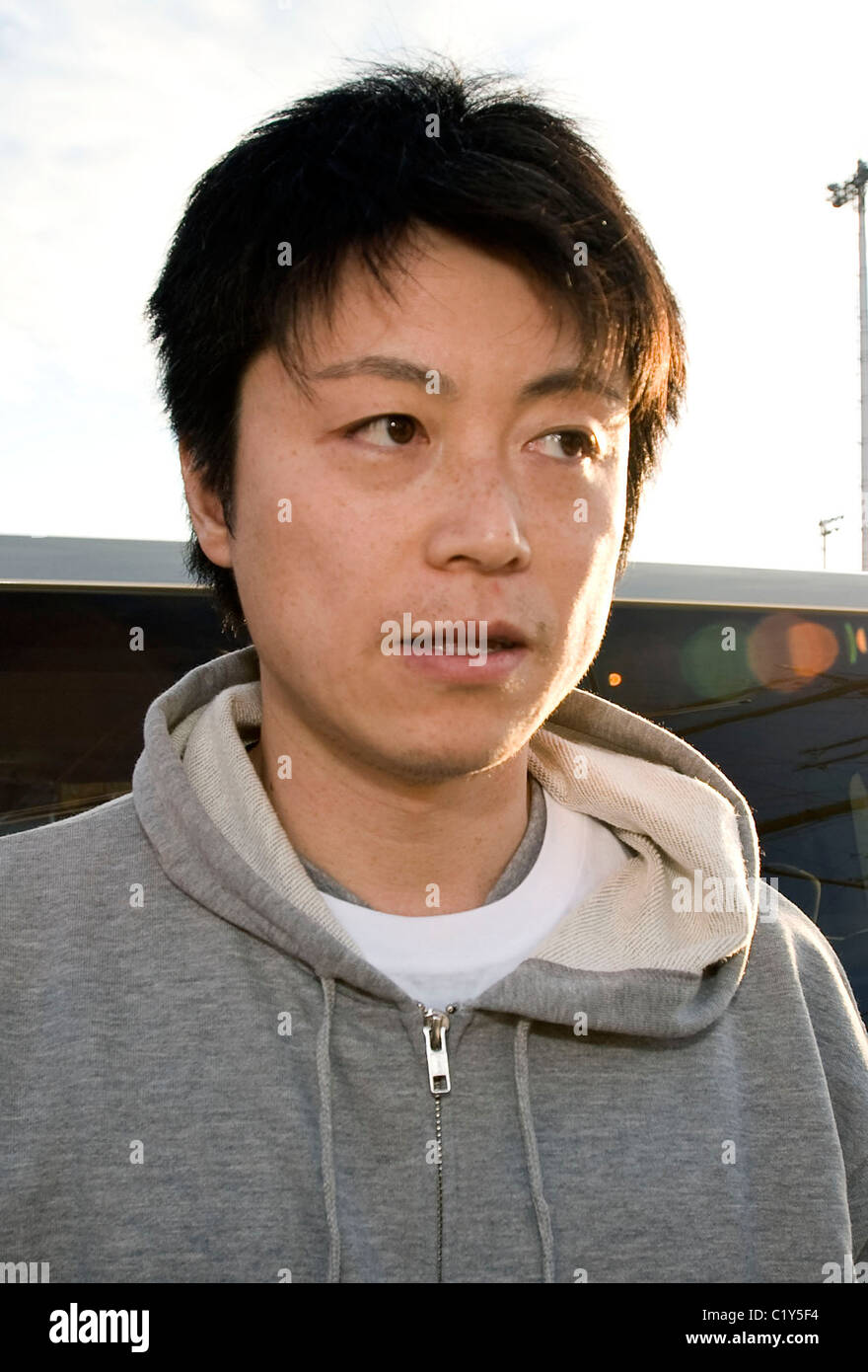 kira Tamura, a member of the so-called Fukushima 50 prepares to board the Kaiwomaru - Stock Image
