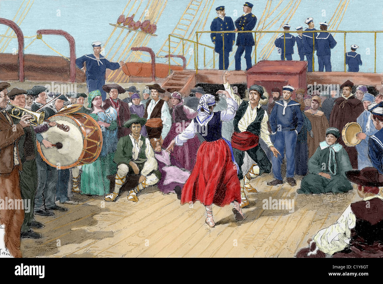 "Spanish emigrants on board a ship heading toward Argentina. Brabant engraving for ""The Enlightenment "", 1887. Colored. Stock Photo"