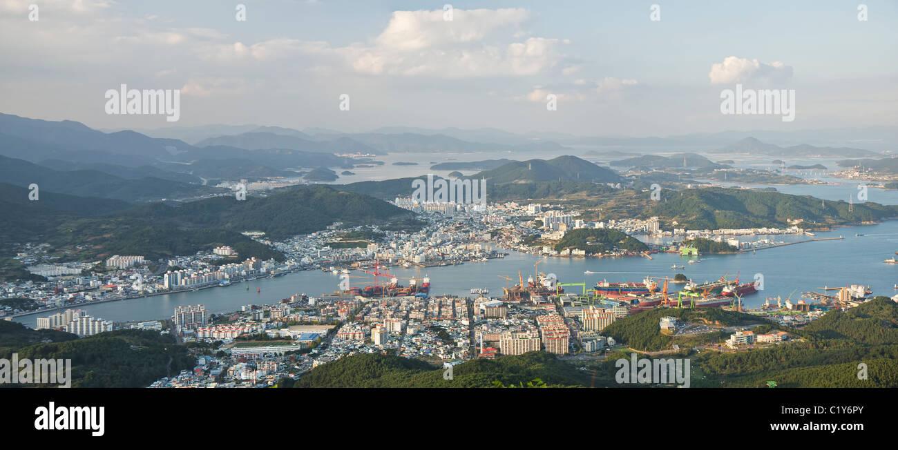 Downtown Tongyeong city evening panoramic view, South Korea - Stock Image