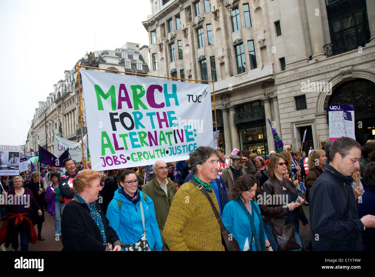 Marchers at March for the Alternative rally organised by the TUC, London, England - Stock Image