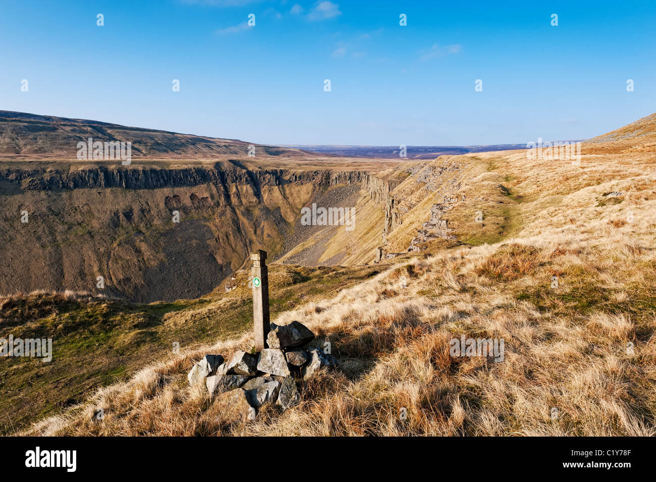 The Pennine Way at High Cup Nick in the north Pennines - Stock Image