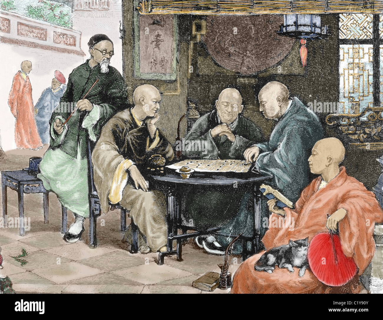 China. Men playing draughts in a tavern. Nineteenth-century colored engraving. Stock Photo