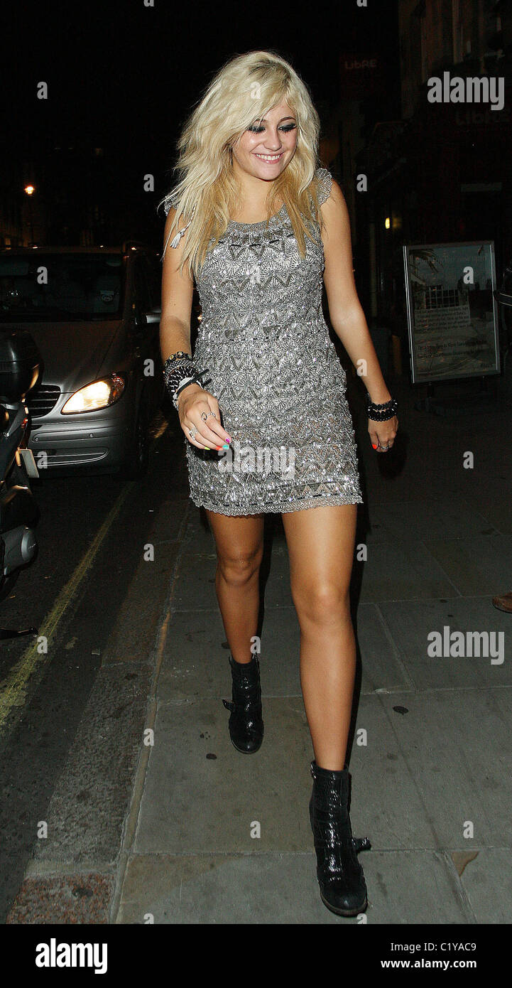 25bbc140593 Pixie Lott leaving Mahiki nightclub at 3.45am wearing a silver dress and  black ankle boots