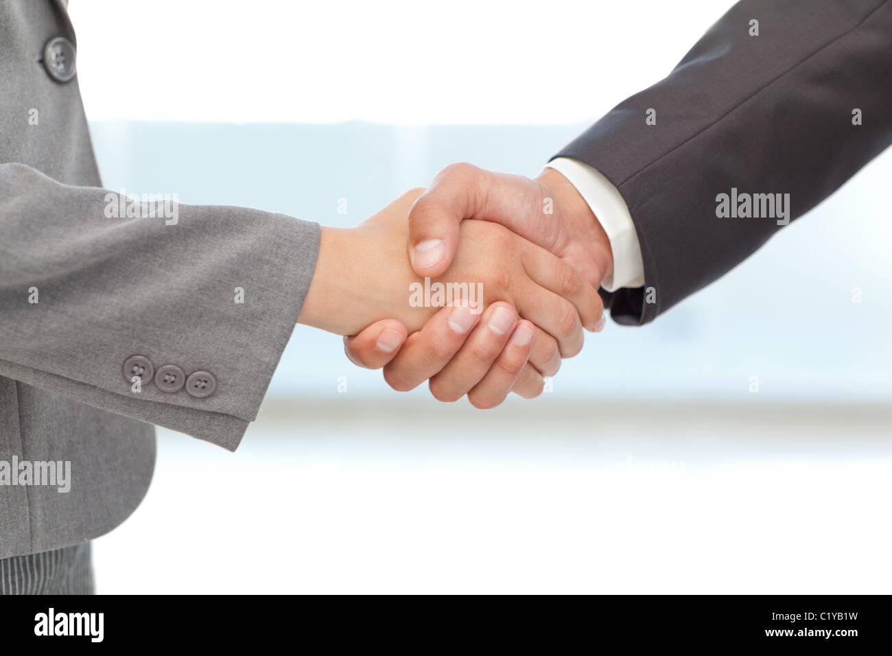 Handshake between two business people - Stock Image