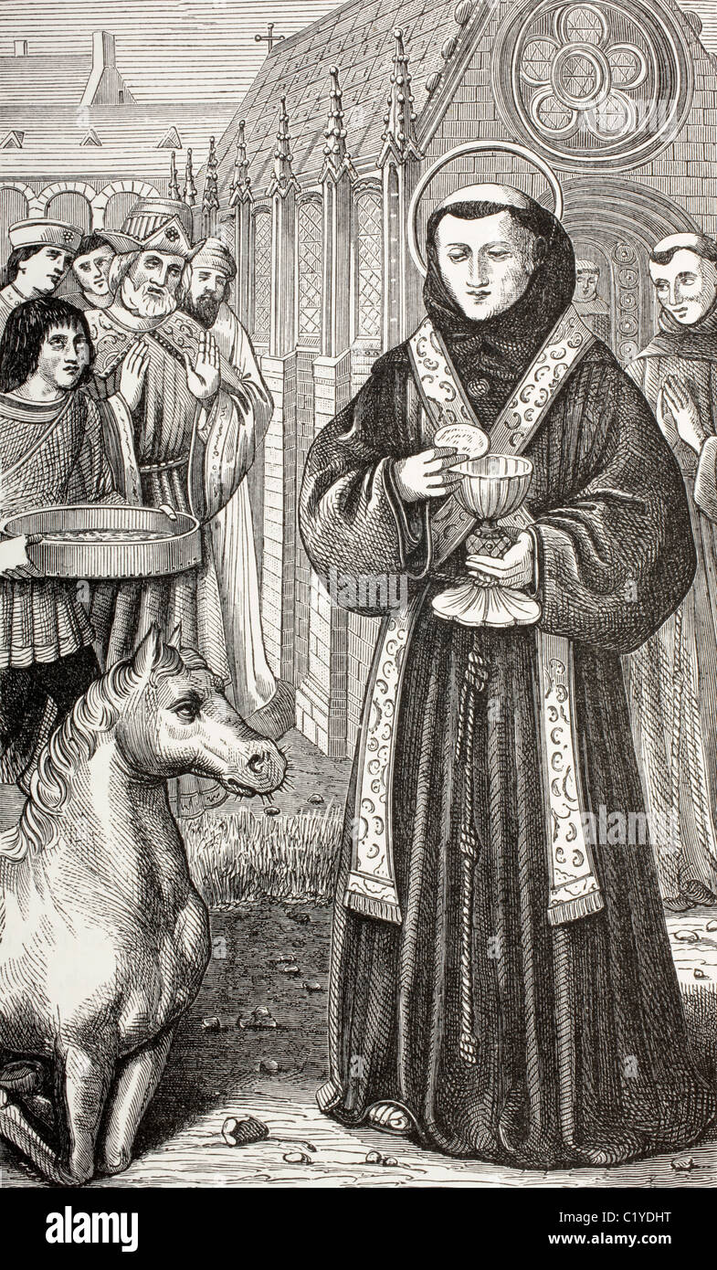 St. Anthony of Padua, anxious to demonstrate the truth of the Holy Sacrament to a heretic - Stock Image