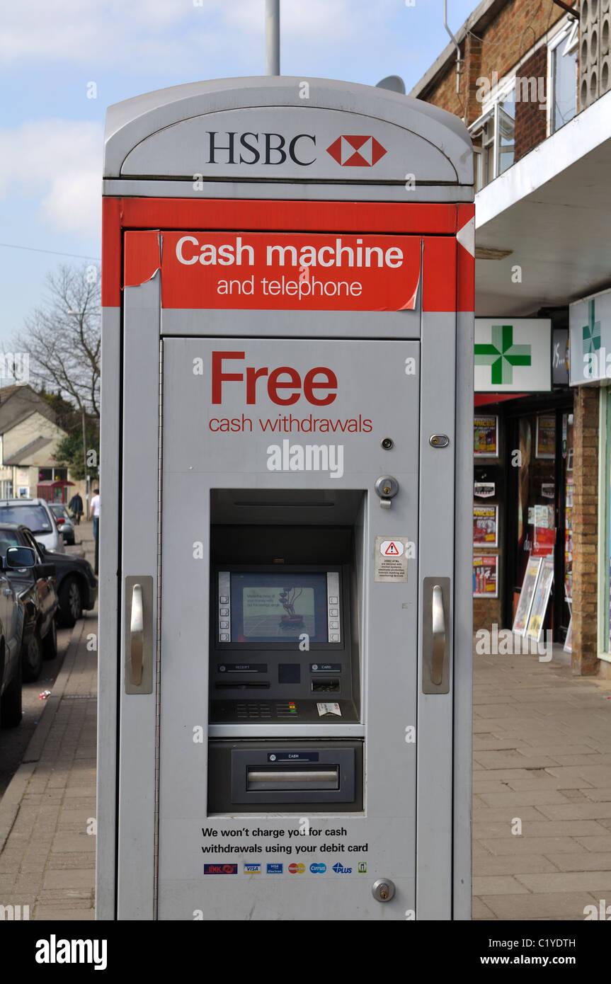 HSBC cash machine and telephone kiosk, Earl Shilton, Leicestershire, UK - Stock Image