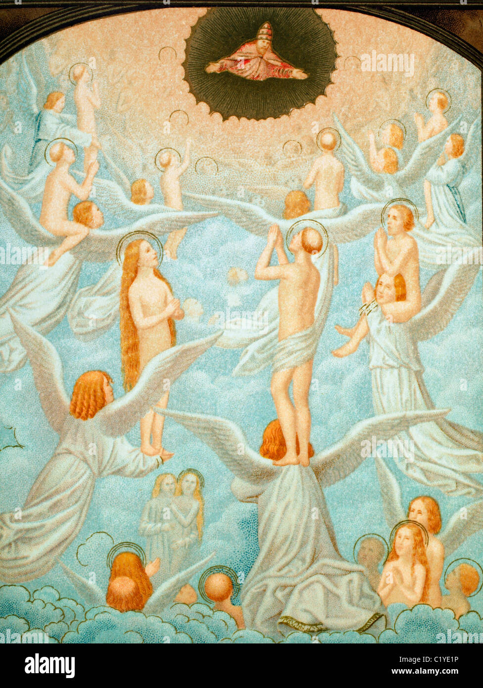 The Angels presenting to God the souls of the Elect. - Stock Image