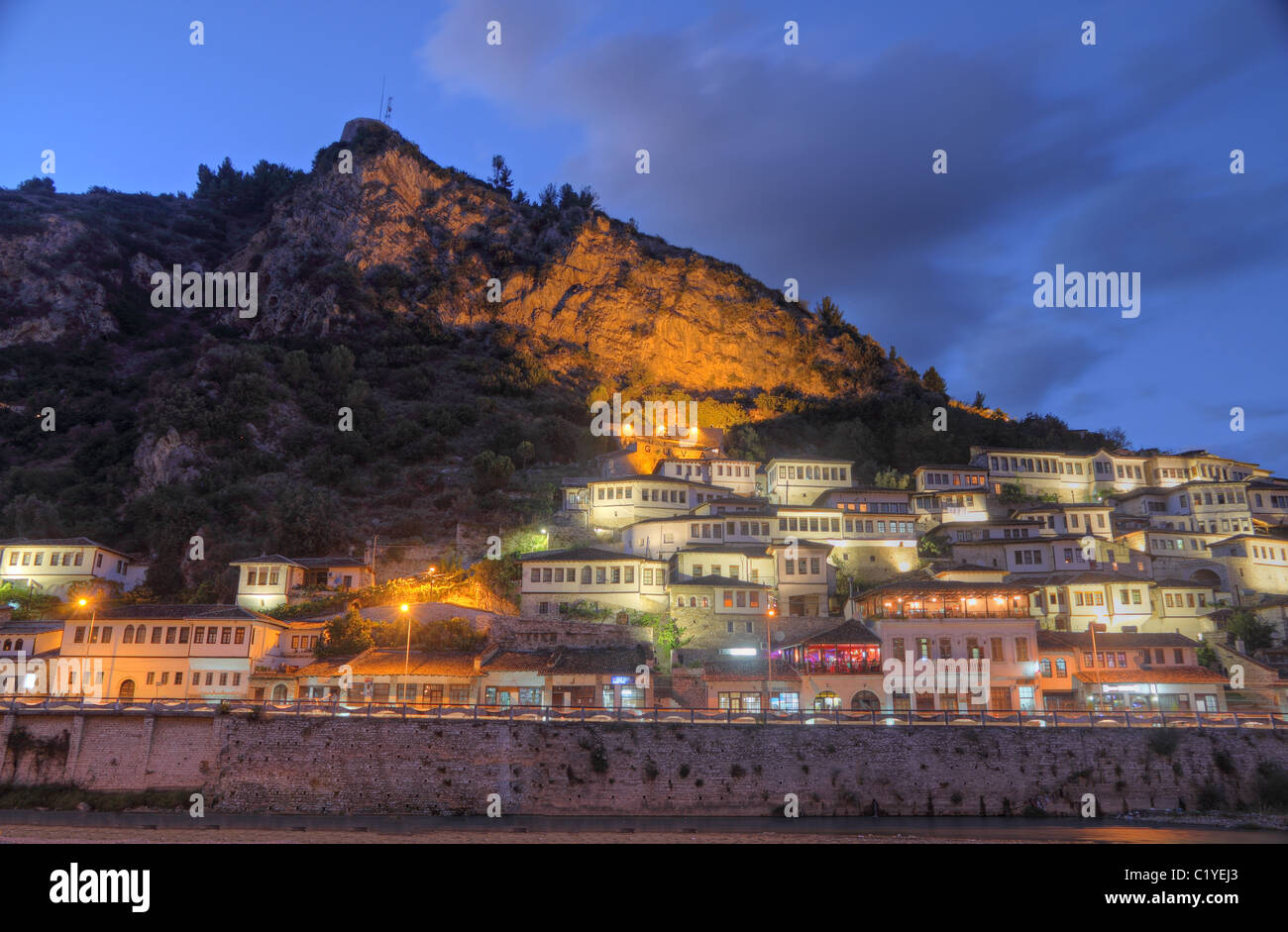 Historic city of Berat in Albania with white houses gathering on a hill also called city of a thousand windows. - Stock Image