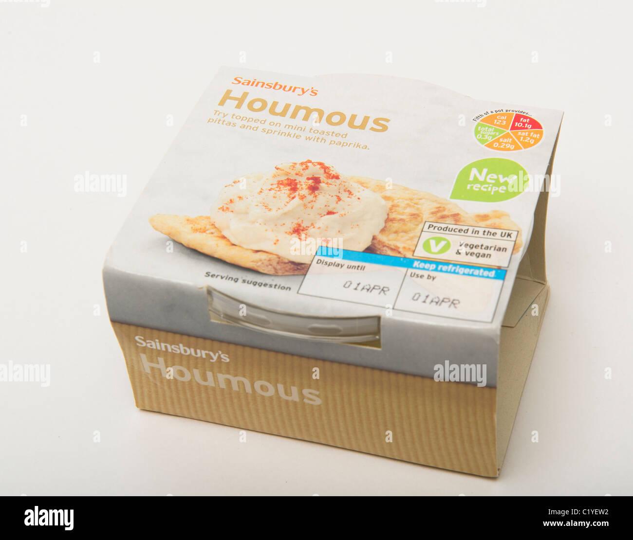 Houmous packet Stock Photo