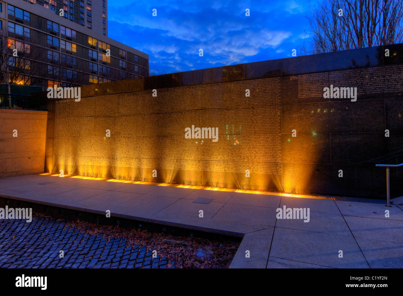 Memorial to New York City Police Officers killed in the line of duty located in Battery Park City in Manhattan at - Stock Image